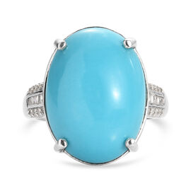 Arizona Sleeping Beauty Turquoise (OV18x13) and Diamond Ring in Platinum Overlay Sterling Silver 8.6