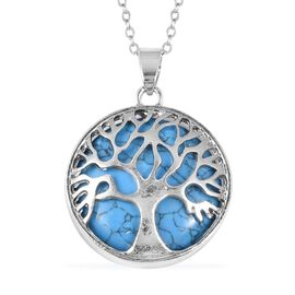 Blue Howlite (Rnd 25) Tree of Life Pendant With Chain (Size 24) in Stainless Steel 15.000 Ct.