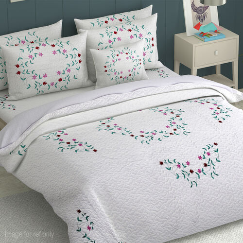 Embroidered Microfibre Soft Washed Bed Cover (Size 240x250) and Two Pillow Cases (Size 70x50 Cm). Multi