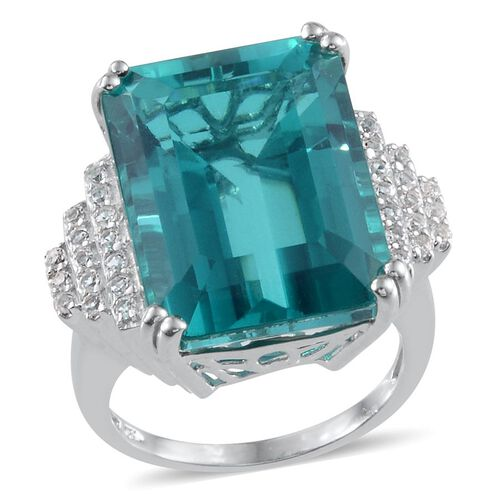 Capri Blue Quartz (Oct 24.50 Ct), White Topaz Ring in Platinum Overlay Sterling Silver 25.000 Ct.