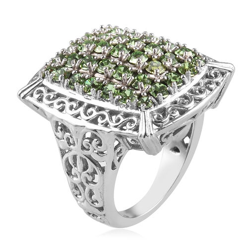 J Francis Crystal from Swarovski Peridot Colour Crystal Cluster Ring in Silver Tone