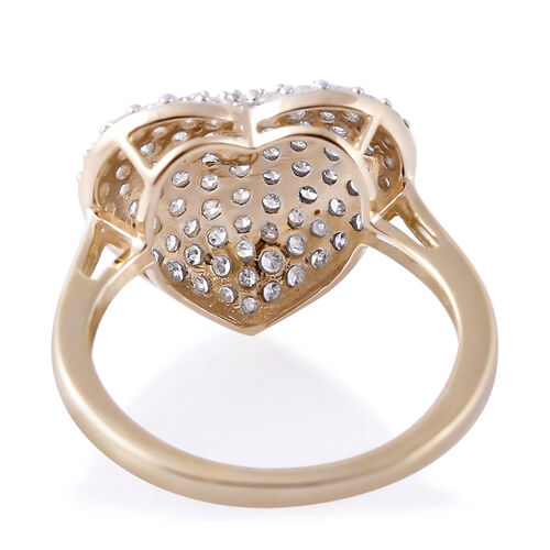 9K Yellow Gold SGL Certified Diamond (Rnd) (I3/G-H) Heart Ring 1.000 Ct.