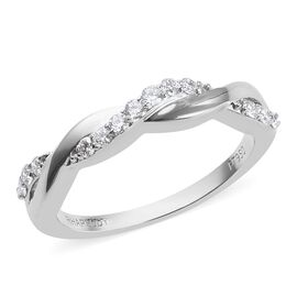 RHAPSODY 0.25 Ct Diamond Twisted Ring in 950 Platinum IGI Certified VS EF