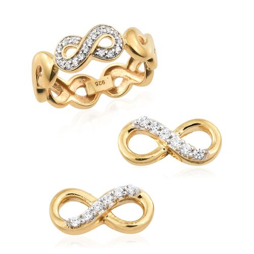 J Francis - Made with SWAROVSKI ZIRCONIA Infinity Band Ring and Stud Earrings Set in Gold Plated Silver