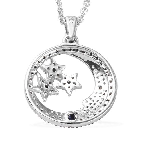 GP - Blue and White Diamond, Blue Sapphire Moon and Stars Pendant with Chain in Platinum Overlay Sterling Silver 0.52 Ct.