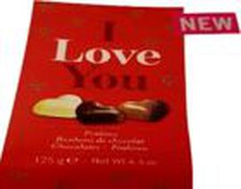I Love You Gift Box of Assorted Chocolate Hearts with Hazelnut Filling - 125g