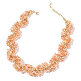Simulated Champagne Diamond and Brown Glass Necklace (Size 18 with 3 inch Extender) in Gold Tone