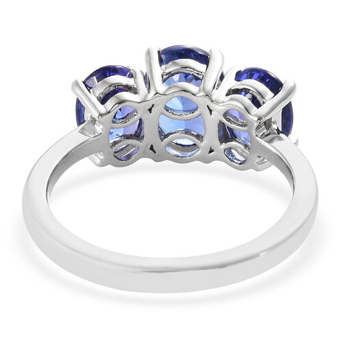 Super Auction- RHAPSODY 950 Platinum AAAA Tanzanite (Ovl 1.45 Ct) Trilogy Ring 3.250 Ct.., Platinum Wt 4.43 Gms.