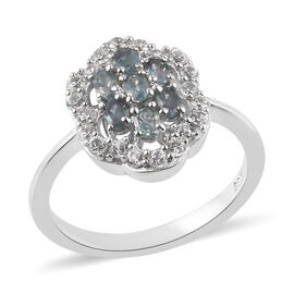 Narsipatnam Alexandrite and Natural Cambodian Zircon Ring in Platinum Overlay Sterling Silver 1.00 C