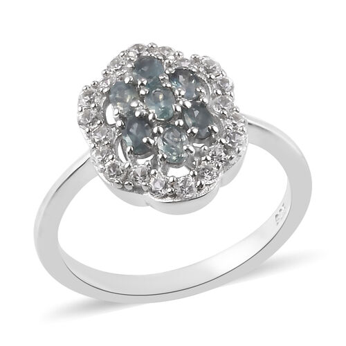 1 Carat Narsipatnam Alexandrite and Zircon Floral Ring in Platinum Plated Sterling Silver