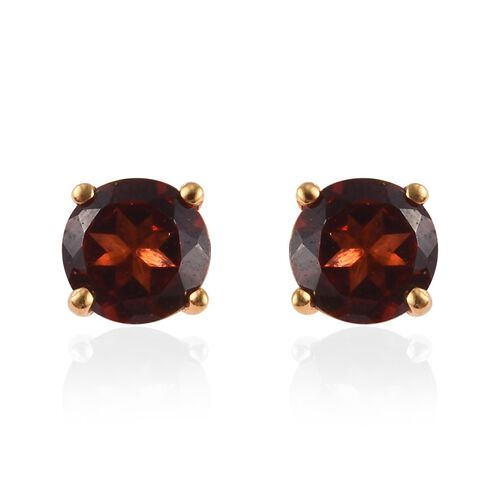 Set of 2 -  Mozambique Garnet Stud Earrings and Pendant with Chain (Size 18) in 14K Yellow Gold Overlay Sterling Silver 1.75 Ct.