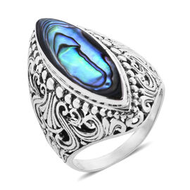 Royal Bali Collection Abalone Shell (Mrq) Filigree Ring in Sterling Silver, Silver wt 5.50 Gms