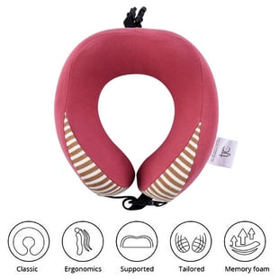 Comfy Neck Pillow with Buckle Closure - Pink