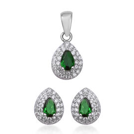 2 Piece Set - ELANZA Simulated Emerald (Pear), Simulated Diamond Pendant and Earrings (with Clasp) i