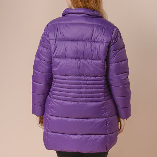 Winter Puffer Jacket with Middle Zip In Plum Purple (Size: XXL, 26-28)