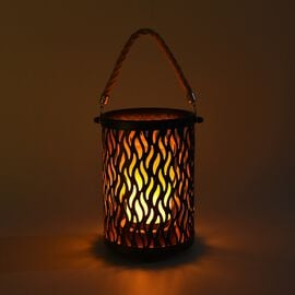 Portable Flameless Simulation White Candle with Wavy Design Stand and Hemp Rope - Black and Gold (3x
