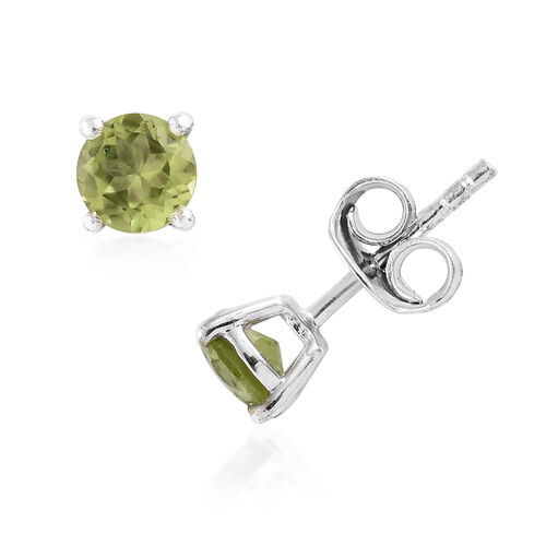 Set of 5 Multi Gem Stone (Rnd) Stud Earrings (with Push Back) in Platinum Overlay Sterling Silver 5.500 Ct.