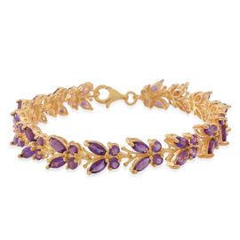 Kaleidoscope Collection - Lusaka Amethyst (Mrq) Butterfly Bracelet (Size 7.5) in 14K Gold Overlay St
