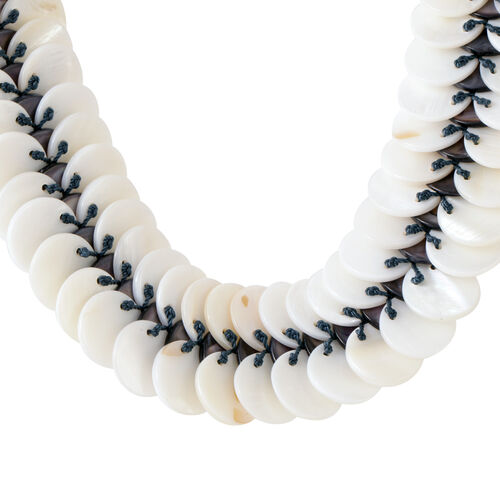 Grey Shell Pearl and White Shell Pearl Necklace (Size 20)