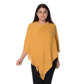 One Time Mega Deal-Solid Colour Knit Sequin Poncho with Tassels  - Yellow - One Size