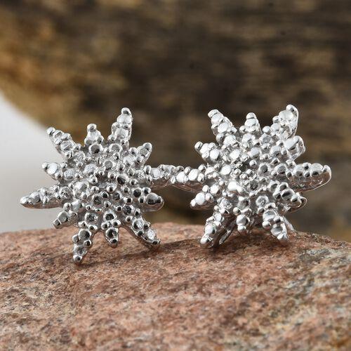 Starburst Diamond (Rnd) Stud Earrings (with Push Back) in Platinum Overlay Sterling Silver