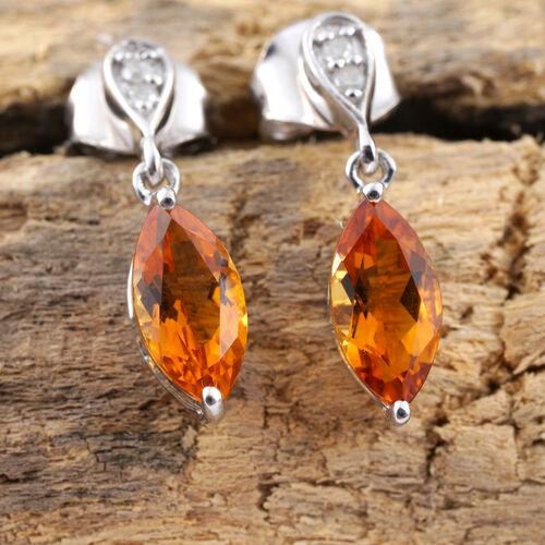 9K White Gold AA Citrine (Mrq), Diamond Earrings (with Push Back) 1.400 Ct.