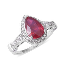 One Time Close Out Deal- African Ruby (Pear 12x8 mm), Natural Cambodian White Zircon Ring in Rhodium