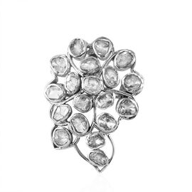 Artisan Crafted Polki Diamond Brooch or Pendant in Sterling Silver 1.00 Ct, Silver wt. 5.50 Gms