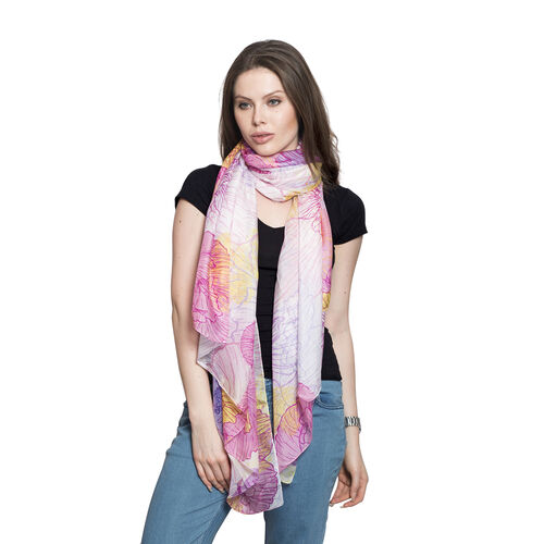 100% Mulberry Silk Pink and Multi Colour Lilac Handscreen Floral Printed Scarf (Size 180x100 Cm)