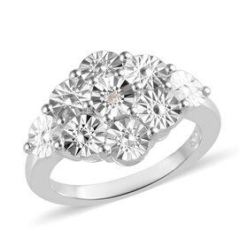 Diamond (Rnd) Ring (Size V) in Sterling Silver, Silver wt 3.12 Gms