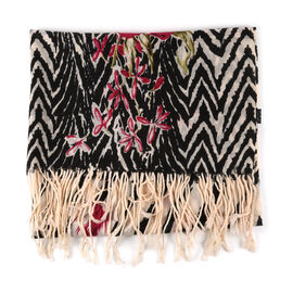 100% Merino Wool Flower and Chevron Pattern Scarf - Black and White