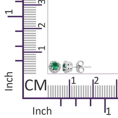 AAA Premium Santa Terezinha Emerald (Rnd), Natural Cambodian Zircon Stud Earrings (with Push Back) in Platinum Overlay Sterling Silver 0.650 Ct.