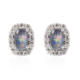 One Time Deal - Australian Boulder Opal and Natural Cambodian Zircon Stud Earrings (with Push Back)