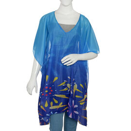 Blue and Multi Colour Digital Printed Kaftan (Size 90x65 Cm)