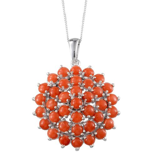 Mediterranean Coral (Rnd) Pendant With Chain in Platinum Overlay Sterling Silver 5.250 Ct. Silver wt 7.37 Gms.