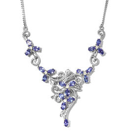 Limited Edition-Premium Tanzanite and Natural Cambodian Zircon Cluster Necklace in Platinum Overlay