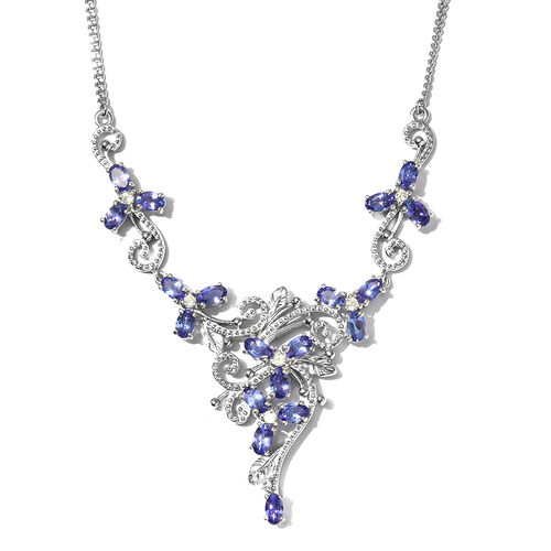 Limited Edition- AAA Tanzanite and Natural Cambodian Zircon Cluster Necklace in Platinum Overlay Ste