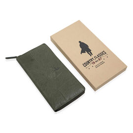 MCS Country Classics: 100% Genuine Leather Full Zip Buffed Ladies Purse - Dark Green