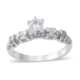 ELANZA  Simulated White Diamond (Rnd and Bgt) Ring in Rhodium Plated Sterling Silver