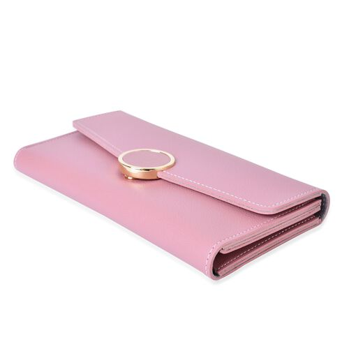 Designer Inspired - Pink Colour Ladies Purse with Multiple Card Slots and Metallic Circle at Front (Size 19X10X1 Cm)