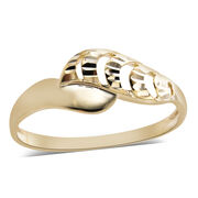 Texture Diamond Cut Bypass Ring in 9K Yellow Gold