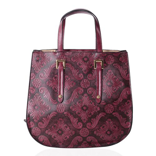 Limited Collection Dark Purple Colour Tote Bag Damask Embossed with Removable Shoulder Strap (Size 33x31x14x13 Cm)