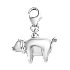 Platinum Overlay Sterling Silver Pig Charm