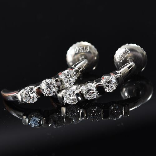 RHAPSODY 950 Platinum IGI Certified Diamond (Rnd) (VS/E-F) Half Hoop Earrings (with Screw Back) 0.560 Ct.