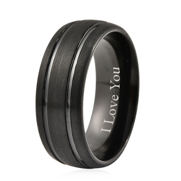 Personalised Engravable Dual Tone Natural Tungsten Secret Message Band Ring, Size 8 MM