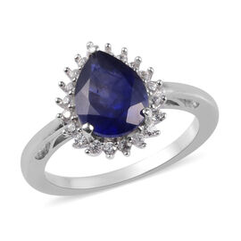 Masoala Sapphire and Natural Cambodian Zircon Ring in Platinum Overlay Sterling Silver 2.75 Ct.