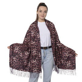 Close Out Deal- Reversible Wine Red Leopard and Blue Snake Pattern Shawl with Tassels (Size 180x70+8