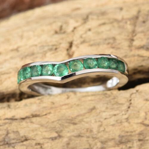 9K White Gold AA Kagem Zambian Emerald (Rnd) Wishbone Ring 0.700 Ct.
