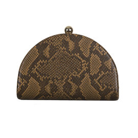 Bulaggi Collection Quince Camel and Black Snake-Skin Pattern Clutch Bag