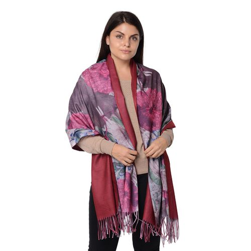 Winter Reversible Digital Printed Lotus Pattern Scarf with Tassel (Size 70x180 Cm) - Wine and Rose R